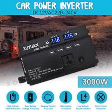 3000W Car Solar Power Inverter DC 12V To AC 220V Sine Wave Converter LED Display