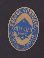 Ancienne étiquette Bière Alcool France BN33507 Bière  Graff Rennes