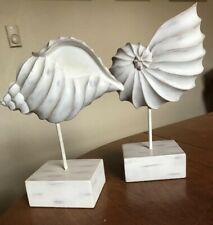 Set Of 2 White Resin Shells On Pedestal Decorative Tabletop Nautical Ocean