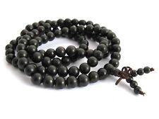 Black Ebony Wood 108 8mm Buddhist Prayer Bead Mala Necklace/Bracelet