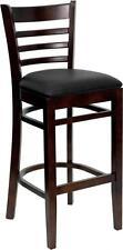 HERCULES Walnut Finished Ladder Back Wooden Bar Stool w/Black Vinyl Seat  NEW