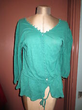 Anthropologie Delette green tunic lots of buttons sz M