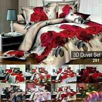 Duvet Set With Fitted Sheet Bedding Quilt Covers & Pillow Case Double King Size