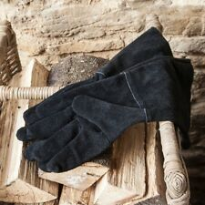 Fireside Black Leather Gauntlet Gloves for Fire and Garden by Garden Trading.