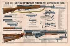 ~Color~ Poster Of Soviet Russian Sks 45 Carbine Simonov 7.62x39 Lqqk & Buy Now!*