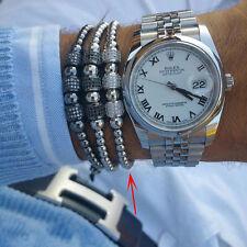 Luxury Anil Arjandas Macrame Bracelets White Gold Micro Pave CZ Disco Balls Men