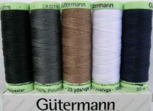 Gutermann Top Stitch Button Sewing Thread Extra-Strong 30m Reel, Mixed Colours