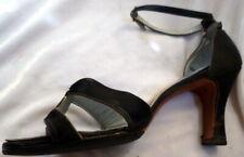 Original Vintage 1930s Black Satin Pumps Shoes Size 8
