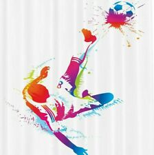 """Ambesonne Kicking Ball Watercolors Shower Curtain Extra Long 84""""x 69"""" Soccer NEW"""