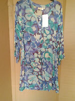Adini 100% viscose georgette printed tunic 3/4 sleeves button top round neck