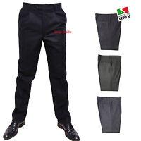 Pantalone Uomo Classico Vita Alta Calibrato 47 49 51 53 55 57 59 61 63 Flanella