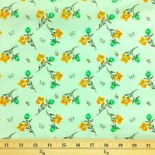Freesia Green Print Fabric Cotton Polyester Broadcloth By The Yard 60""