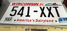 Wisconsin Metal License Plate, 2013 plate, 541 XXT, hologram, Americas Dairyland
