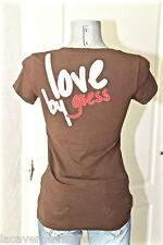 joli tee shirt coton marron strass LOVE by GUESS taille M (40) EXCELLENT ÉTAT