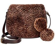 PATRICIA NASH Laser Cut Sherpa CHOCOLATE Brown Leather SADDLE Bag PURSE NeW
