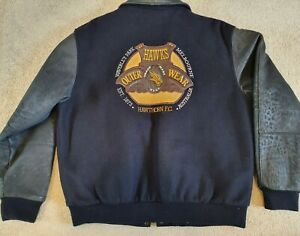 Hawthorn Hawks Football Club Rare Vintage Vivid Wool Leather Bomber Jacket L