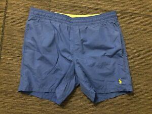 "Polo Ralph Lauren Mens Medium 5.5"" Swim Trunks Blue (Yellow Pony)"