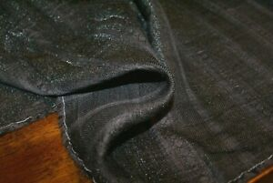 5m x 1.43m 'TEXTURED CHARCOAL LINEN / LUREX / COTTON' Flowing Suiting Fabric