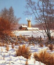 "BILL MAKINSON ""Winter's Rest"" windmill snow SGD LIMITED SIZE:41cm x 35cm NEW"