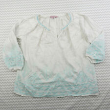 Calypso St. Barth White Cotton Embroidered Peasant Top 3/4 Sleeve Boho Small