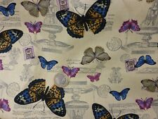 fat quarter cotton canvas with naturalistic butterflies on cream