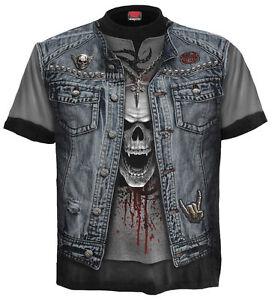 Men's Skull Biker Gothic Rock Metal 3D Graphic T-shirt Spiral Direct