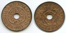 H0375 - Rhodesien & Nyasaland One Penny 1955 KM#2 XF Elefanten Rhodesia