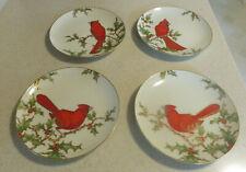 "New ListingFitz and Floyd Christmas Holly Cardinal 7 1/2"" Salad Plates Set of 4 Japan"