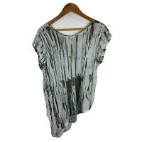 Willow Womens Top Size Medium Black White Flared Short Sleeve Boat Neck
