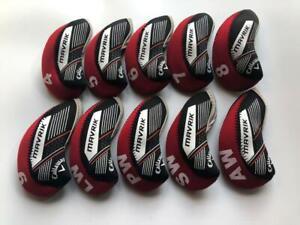 10PCS Golf Iron Headcovers for Callaway Mavrik Club Covers 4-LW Red&Black R/H