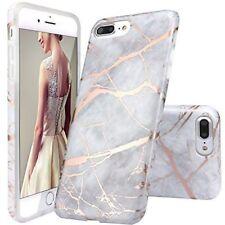 iPhone 7 Plus Case iPhone 8 Plus Case Grey Rose Gold Marble Design TPU Soft Skin