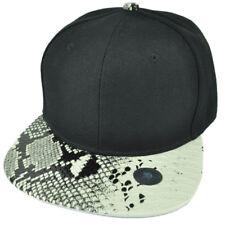 Black White Faux Snake Skin Pattern Visor Hat Cap Blank Plain Solid Snapback