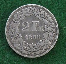 1886 Switzerland Silver 2 Francs KM # 21; Free Shipping