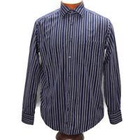 Bugatchi Uomo Mens Button Down Long Sleeve Shirt Medium Blue Purple Striped