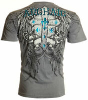 ARCHAIC by AFFLICTION Men T-Shirt ARMY ANT Cross Wings GREY Tattoo Biker UFC $40