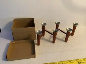 Vintage Danish teak laur jensen folding candleholder w/label & box used!