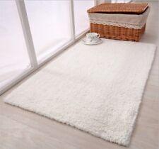45cm x 65cm LUXURY 100% COTTON Plush Indoor Rug Bath Mat NON SLIP Bathroom White