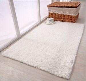 60*90cm LUXURY 100% COTTON Plush Indoor Rug Bath Mat NON SLIP Bathroom White