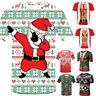 Men Christmas Xmas Shirt Sleeve T-shirt Santa 3D Print Tops Festive Tee  CA