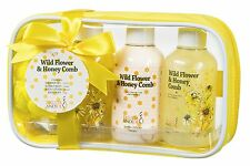 Wild Flower & Honey Spa Set Body Lotion Bubble Bath & More in Shower Bag Kit