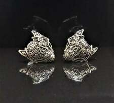Beautiful Wild Wolf Head Studs Animal Earrings For Men's in 18K White Gold Over