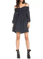 NWT Dance & Marvel Navy White Polka Dot Cold Shoulder Mini Dress Women's Medium
