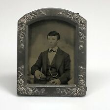 New Listing1920s Antique Czecho-Slovakia Miniature Tin Portrait Frame Tin Type of Young Man