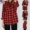 Womens Plaid Checks Long Sleeve T-hirt Loose Button Down Blouse Tunic Tops USA