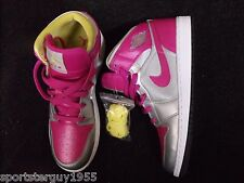GIRLS ATHLETIC SHOE - NIKE AIR JORDAN - 7Y (GS) - PINK/SILVER/YELLOW - NEW!!