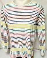 Ralph Lauren Polo COLORFUL Striped Long Sleeve Shirt Top Logo SZ 16 L WOMENS