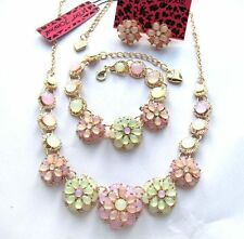 Betsey Johnson Beautiful colour flowers bib Necklace Bracelets earring set#730T