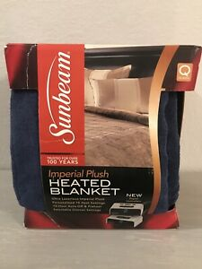 Sunbeam Imperial Plush Heated Blanket Digital Controllers Queen Newport Blue NEW