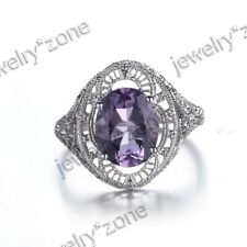 New listing 10K White Gold Amethyst Filigree Vintage Style Solitaire Engagement Wedding Ring