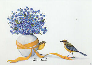 Postkarte: Rebecca Campbell - Vergissmeinnicht - Vögel - Blumen